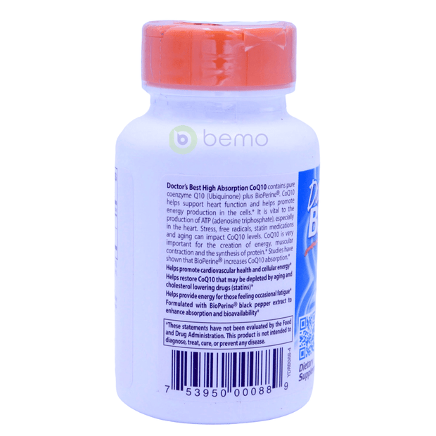 Doctor's Best, High Absorption CoQ10 with BioPerine, 100 mg, 60 Softgels - bemo (4418493808780)