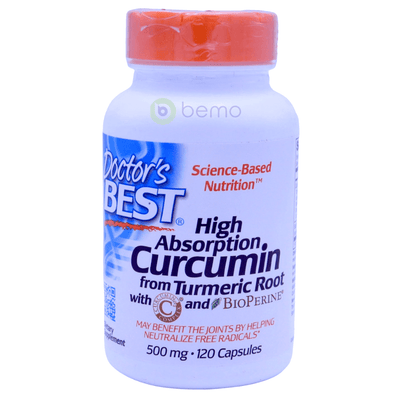 Doctor's Best, Curcumin, High Absorption, With BioPerine, 500 mg, 120 Capsules - bemo (4418556952716)