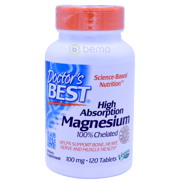 Doctor's Best, High Absorption Magnesium, 100 mg, 120 Tablets - bemo (4425874636940)