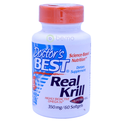 Doctor's Best, Real Krill, 350 mg, 60 Softgel Capsules - bemo (4422322126988)