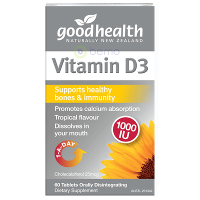 Good Health, Vitamin D3, 60 Tabs (5518381711524)