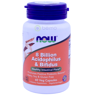 Now Foods, 8 Billion Acidophilus + Bifidus, 60 Veg Capsules - bemo (4426128162956)