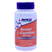 Now Foods, Acetyl-L Carnitine, 500 mg, 50 Veg Capsules - bemo (4422694502540)