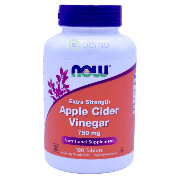 Now Foods, Apple Cider Vinegar, Extra Strength, 750 mg, 180 Tablets - bemo