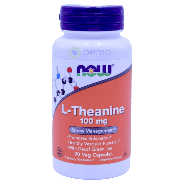 Now Foods, L-Theanine, 100 mg, 90 Veg Capsules - bemo