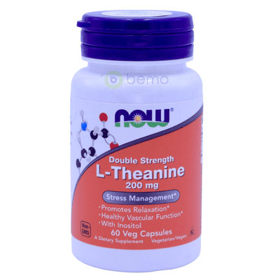 Now Foods, L-Theanine, Double Strength, 200 mg, 60 Veg Capsules - bemo (4424084488332)