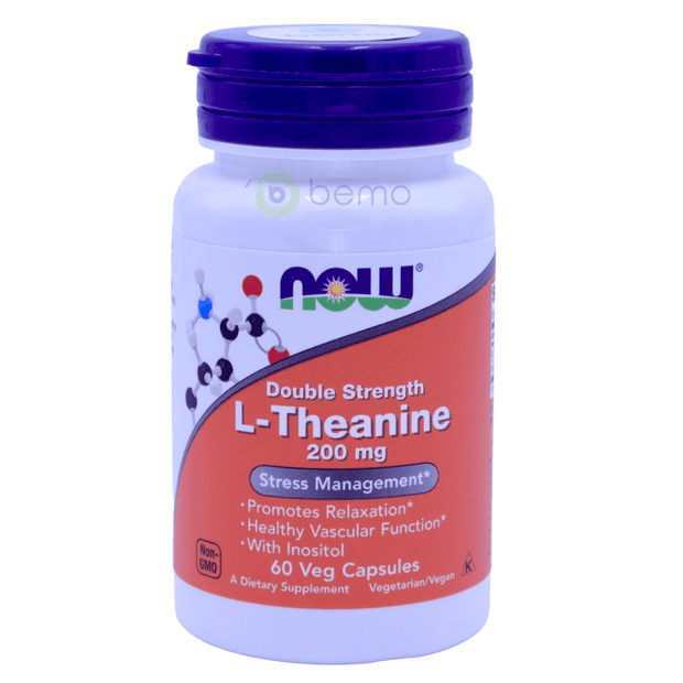 Now Foods, L-Theanine, Double Strength, 200 mg, 60 Veg Capsules - bemo