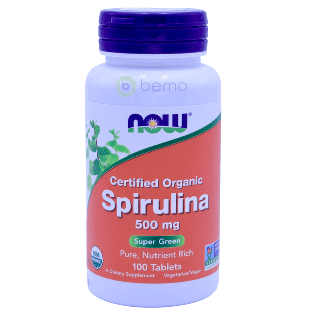 Now Foods, Certified Organic Spirulina, 500mg, 100 Tablets - bemo (4428609978508)