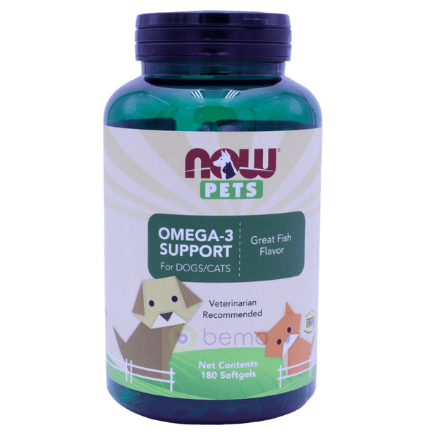 Now Foods, Pets, Omega-3 Support for Dogs/Cats, 180 Softgels - bemo (4428967051404)