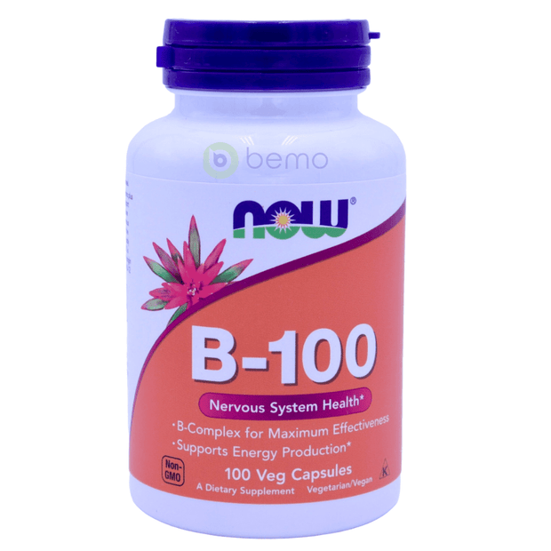 Now Foods, B-100 High Potency B Complex, 100 Veg Capsules - bemo (4428682199180)
