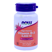 Now Foods, Vitamin D-3, High Potency, 5000 IU, 120 Softgels - bemo (4428905840780)