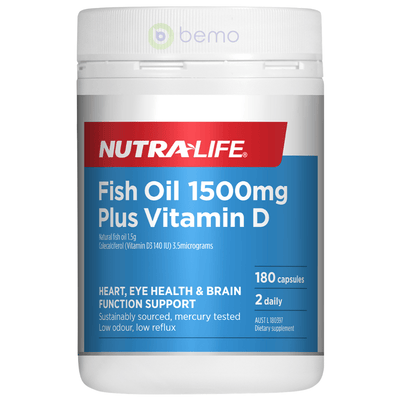 Nutra-Life, Fish Oil 1500mg + Vit D, 180 caps (5673215885476)