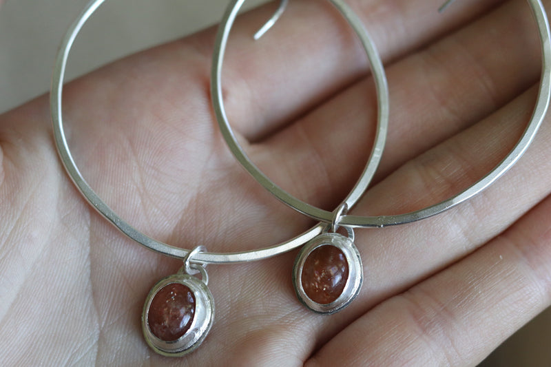 Sunstone Hoop Earrings