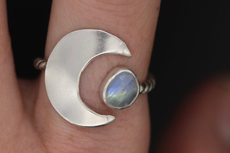 Size 7-9 Adjustable Moonstone Moon Ring