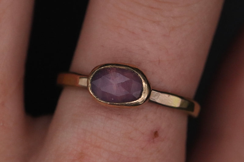Size 8 14k Gold Fill Pink Sapphire Ring
