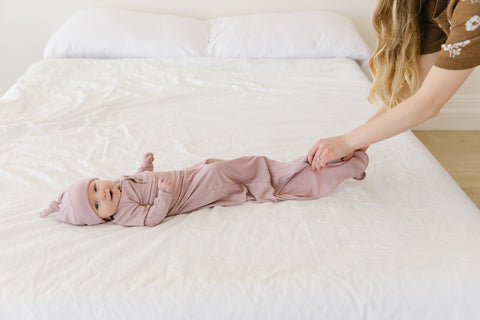 blush ribbed knotted sleeper