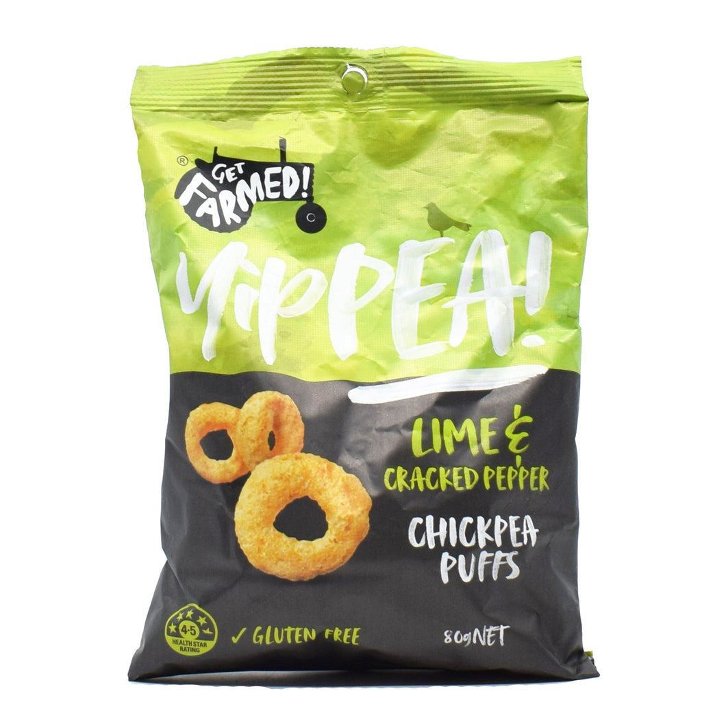 Get Farmed Yippea (Lime & Cracked Pepper Chickpea Puffs) 80g