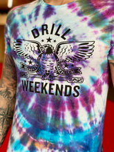 Load image into Gallery viewer, Tie Dye Drill Weekends Stencil Tee