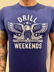 Blue Drill Weekends Stencil Tee