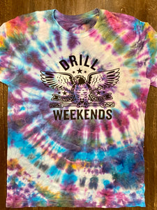 Tie Dye Drill Weekends Stencil Tee