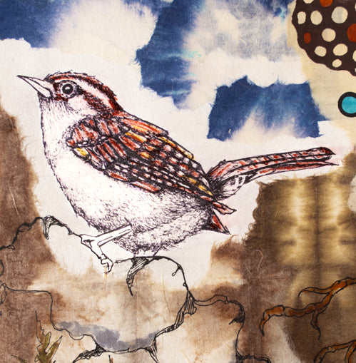 Mixed Media Collage: Blue Sky Wren