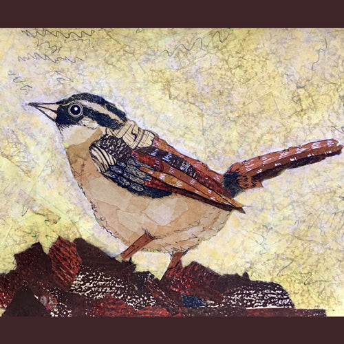 Torn Paper Collage, My Wren Friend