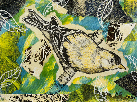 Mixed Media Bird Collage by April Sproule