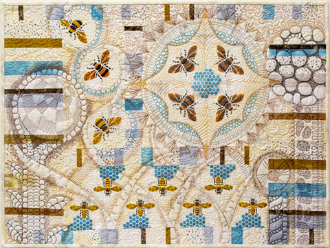 The Bees Stencil from Sproule Studios is perfect for fiber art and mixed media projects.