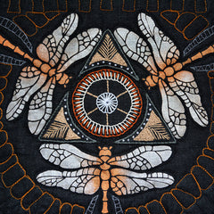 The Dragonfly Stencil from Sproule Studios is combined here with hand embroidery.