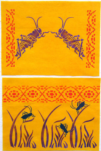 Two grasshoppers painted on cotton with the Grasshopper Stencil from Sproule Studios.