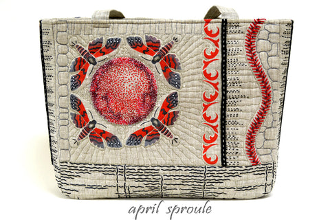 The Moths Stencil from Sproule Studios was used to embellish this beautiful linen tote.