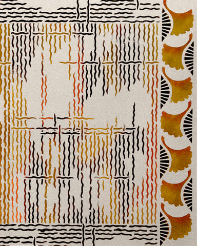 This is the Lattice Stencil designed by April Sproule for painting fabric and mixed media art.