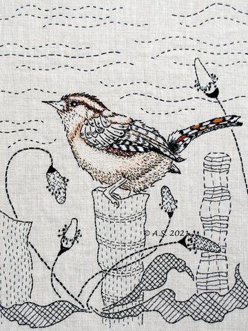 The Wren hand embroidery pattern designed by April Sproule of Sproule Studios.
