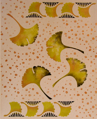 The Ginkgo Stencil can be painted on mixed media or textile arts projects.