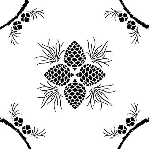 This is another version of the Pine Stencil design from Sproule Studios for mixed media and textile arts.