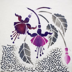 Hand painted image on cotton with Fuchsia Stencil by Sproule Studios.