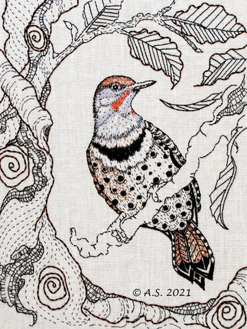 Northern Flicker woodpecker hand embroidery pattern by April Sproule for Sproule Studios.