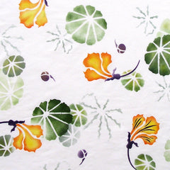 Another hand painted design on fabric using the Nasturtium Stencil by Sproule Studios.