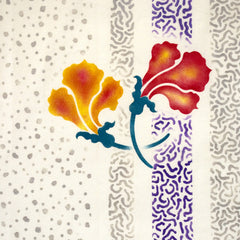 Two hand painted flowers using the Nasturtium Stencil.