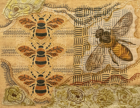 The Basketweave Stencil from Sproule Studios is used to add interest to this colaged linen art piece.