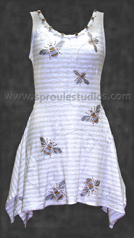 A linen tunic painted with the Bee Stencil by April Sproule.