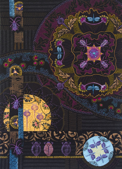 Midnight Rendezvous hand painted and stitched textile art by April Sproule.
