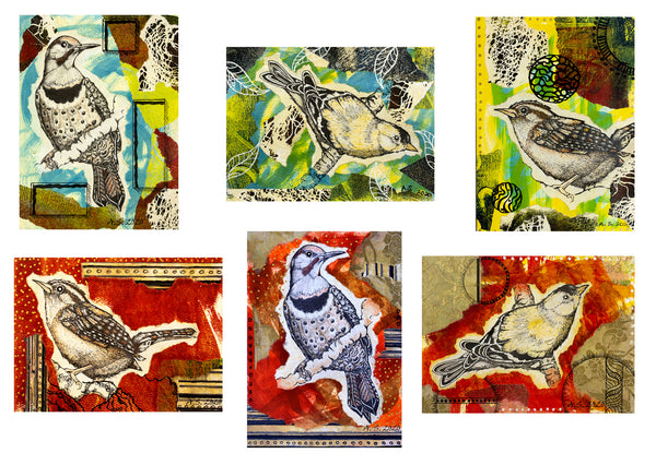 Bird Mixed Media Collage Collection by April Sproule