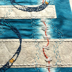 How to hand stitch paper to fabric, April Sproule