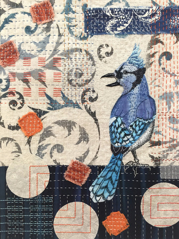 Blue Jay Collage workshop by April Sproule