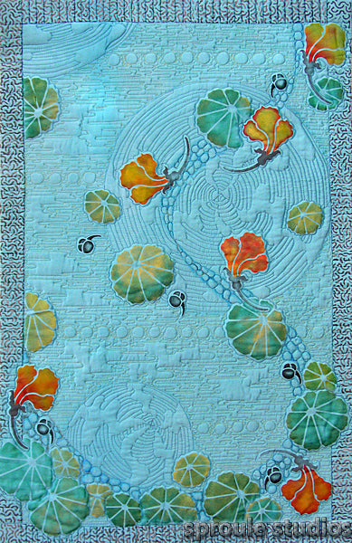 Blue Nasturtiums textile art hand dyed and painted by April Sproule