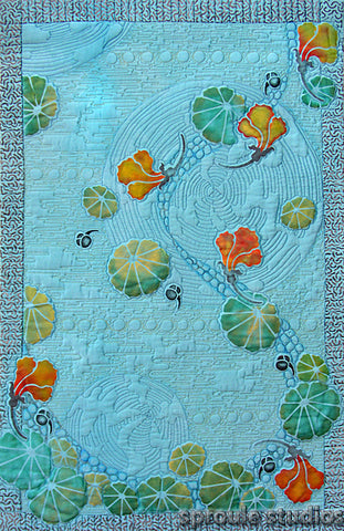 Blue Nasturtiums hand painted with stencils by April Sproule of Sproule Studios.