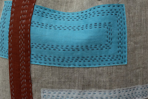 Details of handmade linen Market Tote by April Sproule