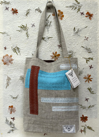 Handmade Linen Market Tote by April Sproule.