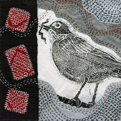 Japanese Boro Stitching with hand cut Robin lino block printed on fabric.